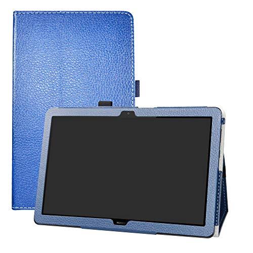 LFDZ Huawei MediaPad T5 Hoesje,Oppervlak met behulp van hoge kwaliteit synthetisch leer Hoes Voor Huawei MediaPad T5 10-Inch 2018 Tablet,Donkerblauw