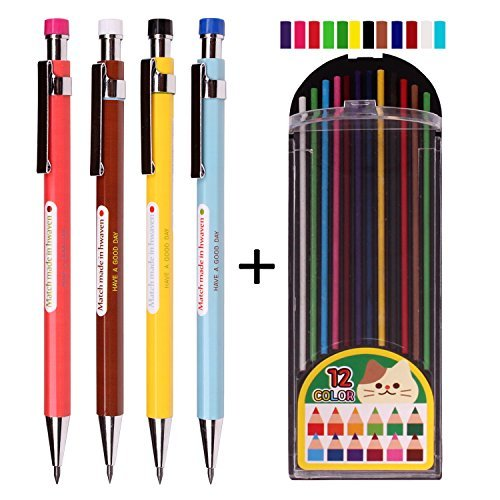 Nanoex 2.0 mm Lead Holder Pen Mechanical Pencil for Draft Drawing,Carpenter,Crafting, Art Sketching Sharpener (Pack of 4 Pencils) + (2.0mm Hb Color Lead 1 Tube 12 Leads)