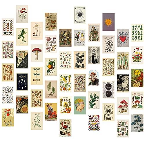 Wall Collage Kit Aesthetic Room Decor, Tarot Posters for Room Aesthetic, 50PCS 4x6 Inch Room Decor Aesthetic Vintage Pictures for Bedroom Wall Decor
