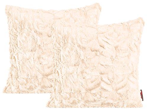MAGMA Fluffy Kissenhülle ca. 50 x 50 cm kuschelweicher Plüsch in Felloptik 71 Nude-beige (2er Set)