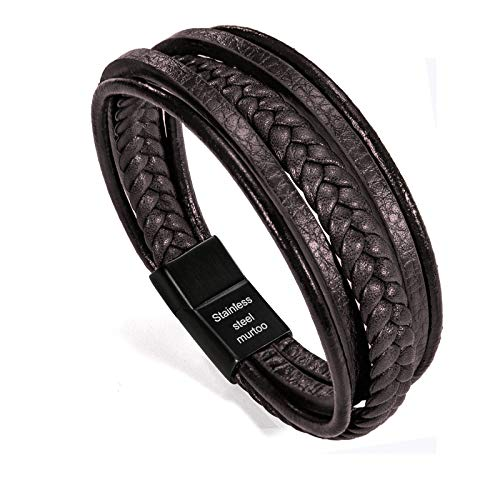 murtoo Mens Leather Bracelet with Magnetic Clasp Cowhide Multi-Layer...