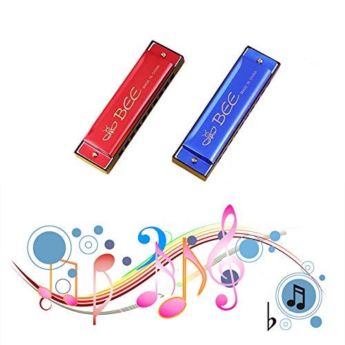 2 Stück Mundharmonika, Mundharmonika für Kinder, Mundharmonika, Mundharmonika Spielzeug Mundharmonika C-Dur Major Blues Harmonika,10 Loch Mundharmonika Kinder,für Anfänger (Rot+Blau)