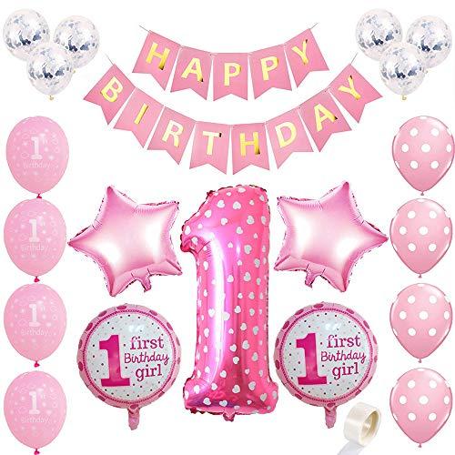 Juland Kit de Decoraciones para niña de 1er cumpleaños Suministros para la Primera Fiesta Rosa - Globo de Aluminio número 1, Estandarte Feliz Dorado, Estrellas y Dulces, Globos de Confetti