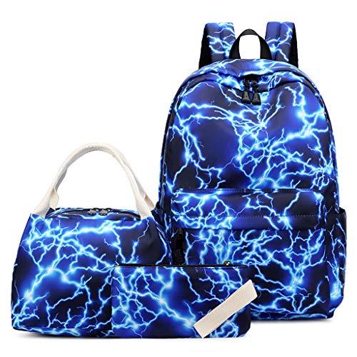 MingSheng Mochila, 3 unidades, nailon, mochila escolar, mochila escolar, bolsa para el almuerzo, para niñas y niños, BL, Talla única