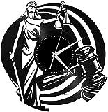 jjyyy Horloge Murale Vinyle Horloge Murale échelle Vintage échelle échelle de Poids Balance Justice Jugement décoration Bureau Design Vintage Bureau Bar Chambre décor à la Maison