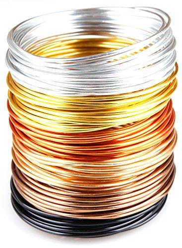 Creacraft Alambre de Aluminio Artístico para Bisutería otoño Dorado - 30m, Rollos...