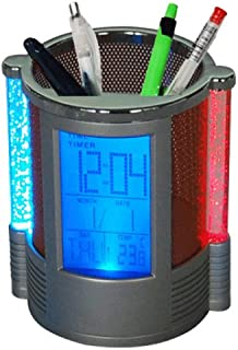 And Retails Elegant Round Shape Pen Holder with Digital LCD Alarm Clock & Colour Changing Bubble LED Lights (Colours as pe...