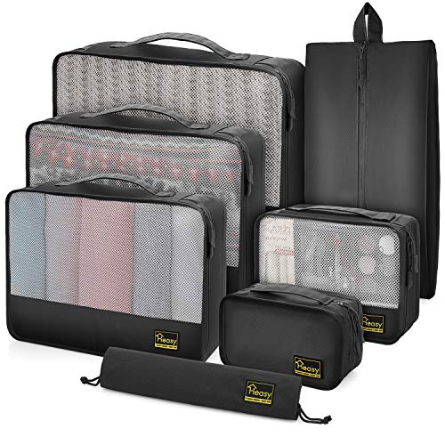 Heasy Packing Cubes for Travel Suitcases 7Pcs Luggage Organiser Bags in Set with Clothes Shoes Cosmetic Toiletry Cable Mesh Packing Cubes (Black)