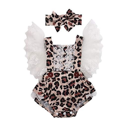 Carolilly Neugeborene Body Baby Strampler Baby Mädchen Outfits Baby Body Neugeborene Onesie Baby Bekleidungsset Mädchen Einteilig Schlafanzug (Leopard j, 18-24 Monate, 100)