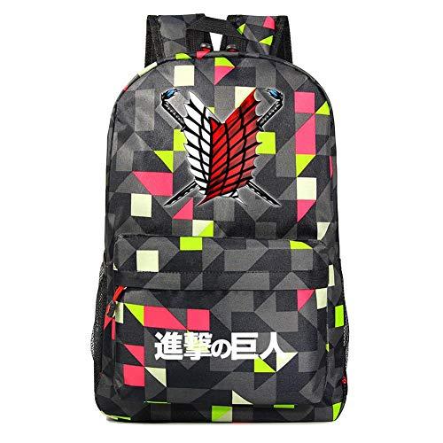 Gumstyle Attack on Titan AOT Anime Rucksack Casual Daypack Sporttasche für Kurze Reisen, Plaid B -2 (Mehrfarbig) - PHF1A716-31