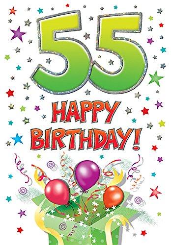 Tarjeta de cumpleaños moderna para la edad de 55 – 7 x 5 pulgadas – Piccadilly Greetings