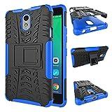 TiHen Handyhülle für Lenovo Vibe P1M Hülle, 360 Grad Ganzkörper Schutzhülle + Panzerglas Schutzfolie 2 Stück Stoßfest zhülle Handys Tasche Bumper Hülle Cover Skin mit Ständer -Blau