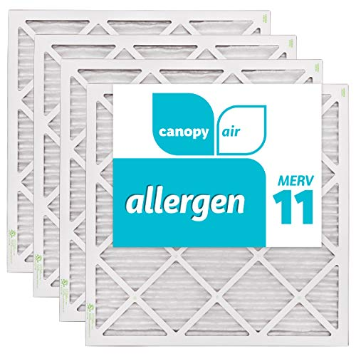 Canopy Air 20x20x1, Allergen AC Furnace Air Filter, MERV 11, Made in the USA, 4-Pack (Actual Size 19 1/2' x 19 1/2' x 3/4')