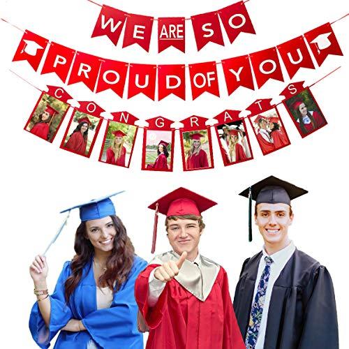 2021 Graduation Decoration Party Supplies, Red Banners Photo Frame for Adults Kids, Class of 2021 Congrats Yard Sign Props Door, High School College Preschool Kindergarten Junior Senior Grade