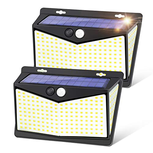 Solar Motion Sensor Outdoor Lights, IKSTAR Solar Lights Outdoor 3 Working Modes, Solar Wall Lights with 270°Wide Angle Wireless IP65 Waterproof Solar Powered for Garden Patio Yard (208 LEDs / 2Pack)