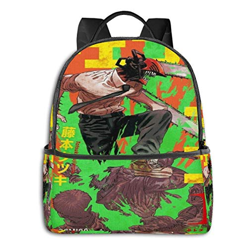 IUBBKI Mochila lateral negra Mochilas informales Anime & Chainsaw Man Chapter Cover Student School Bag School Cycling Leisure Travel Camping Outdoor Backpack