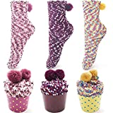 ZSWQ Warm Fluffy Winter Socks Funny Cake Socks with Gift Box