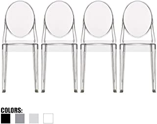2xhome Set of 4 Stackable Mid Century Modern Clear Ghost Side Chairs Dining Room Victoria Transparent Crystal Polycarbonate Plastic Acrylic No Arms Molded Accent Living Desk Guest Small Space