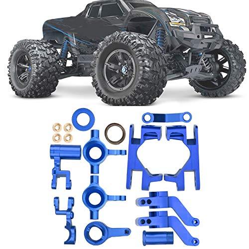 Alomejor RC-Achsschenkel Aluminiumlegierung Vordere C-Nabe Träger Achsschenkel RC-Modell Vorderradnaben Teile Zubehör für Traxxas 1/10 4X4 Slash Truck(Blau)