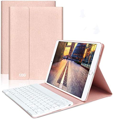 "iPad Keyboard Case 9.7"" 6th Generation for New iPad 2018/2017 (5th Gen) - iPad Air 2/Air 1 - Wireless Bluetooth Keyboard - Magnetic Auto Sleep/Wake (Rose Gold with White Keyboard)"