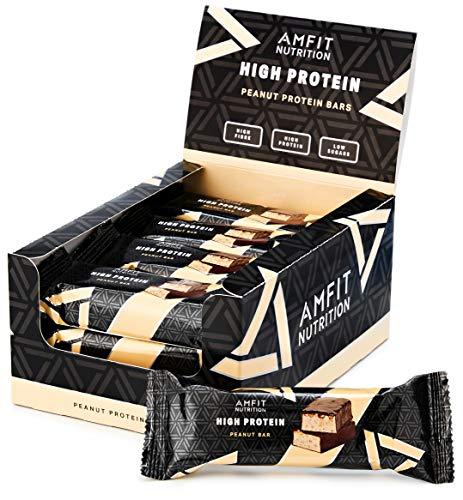 Marchio Amazon- Amfit Nutrition Barretta proteica a basso contenuto di zuccheri (19,5gr proteine - 1,7gr zucchero) - arachidi - Confezione da 12 (12x60g)