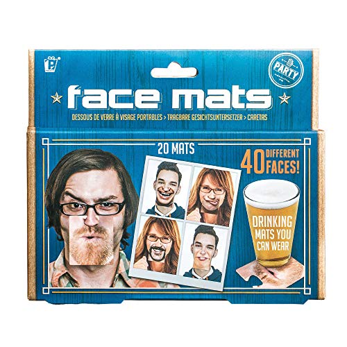 Monsterzeug 20 Bierdeckel Face Mats, Getränke-Untersetzter Bedruckt mit lustigen Gesichtern, Fotobox Accessoire als lustiges Partyspiel