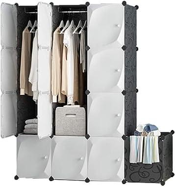 ZSMPY Portable Closet White Wardrobe Closet Bedroom Closet Storage, Rich, 6 Hanging Lattice 2+ Dirty Basket, 14747147CM