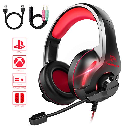 YINSAN Gaming Headset, Xbox One Headset, PS4 Headset Surround Stereo Gaming Headphones with Mic & LED Light, Compatible with PC/PS4/Xbox One/Switch (USB Extension Cable Contained), Red