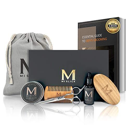 MI Slick Premium Beard Grooming Care Kit for Men -100% Natural Unscented Beard Oil & Beard Balm,...