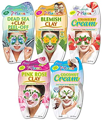 7th Heaven Hydrating Face Mask Pack with Dead Sea Clay, Blemish Clay, Strawberry Cream, Pink Rose Clay and Coconut Cream for All Skin Types