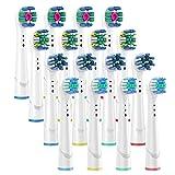 Cabezas de cepillo de dientes compatibles con cabezales de cepillo de repuesto eléctrico Oral B, incluye 4 precisión, 4 hilos, 4 cruz y 4 blanqueamiento – 16 variedades