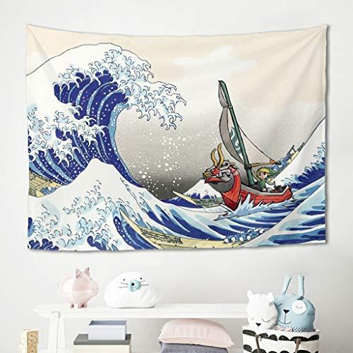 Wandbehänge Wandtuch Tapisserie The Legend of Zelda Zombie Meereswelle Picknickdecke Yogamatte Bedspread Wohnzimmer Schlafzimmer Polster Decke White 200x150cm