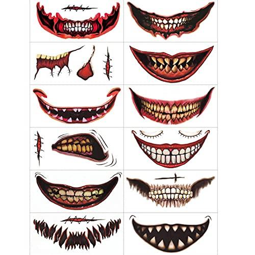 Richolyn Halloween Clown Labbro Tatuaggi Temporanei, Trucco per Le Decorazioni di Scena per Feste di Halloween, Adesivi per Bocca per Il Corpo per Cosplay,12 Fogli
