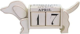 NIKKY HOME Shabby Chic Dog Shaped Wood Blocks Perpetual Desk Calendar, 13.4 x 3.1 x 5.7 Inches, White