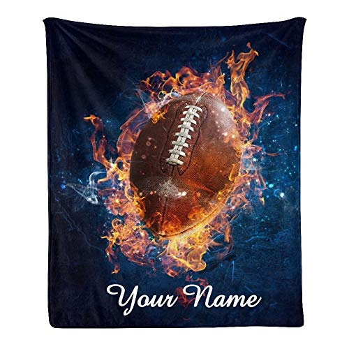 CUXWEOT Custom Blanket with Name Text,Personalized American Football Game Super Soft Fleece Throw Blanket for Couch Sofa Bed (50 X 60 inches)