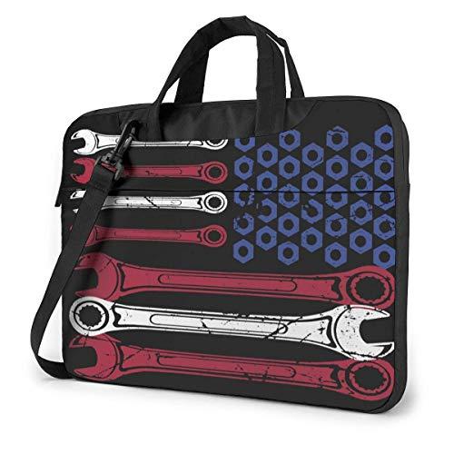 Funny Wrench American Flag Funny Laptop Case Laptop Shoulder Messenger Bag Sleeve for 15.6 Inch