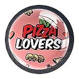 YATELI Amante de la Pizza Perillas de extracción de para gabinetes, armarios, Puertas y cajones de Muebles: se Venden como un Paquete de 4 perillas