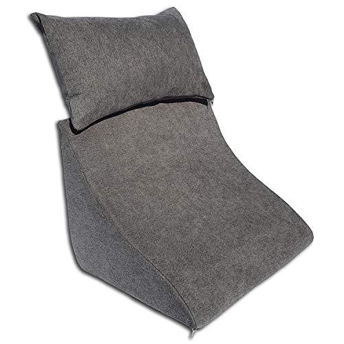 Formalind Lesekissen-Set für Bett und Sofa – Ergonomisch geformtes Keilkissen Plus kuscheliges Sofakissen zum Lesen, Fernsehen und Entspannen (dunkelgrau)