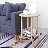 Wisfor Round End Side Table 2 Tier Bamboo for Living Room Simple Accent Small Sofaside Bedside Nightstand Table for Small Spaces Bedroom Modern Nursery Table