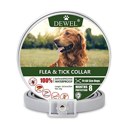 DEWEL 63.5cm Zeckenhalsband für Hunde und Katze, Floh Zecken Kragen Floh-und Zecken Prävention Halsbänder, Verstellbar Wasserdicht Hund Flohhalsband