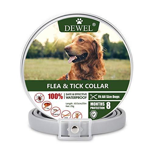 DEWEL 63cm Zecken Halsband für Hunde und Katze, Floh Zecken Kragen Floh-und Zecken Prävention Halsbänder, Verstellbar Wasserdicht Hund Flohhalsband