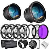 Neewer 55mm Kit Lente Filtro Accesorio para Nikon AF-P DX 18-55mm Lente Sony:Lente Gran Angular 0,43X,Lente Teleobjetivo 2,2X, Filtro UV/CPL/FLD Set Filtro Macro,Parasol,Tapa,Bolsa