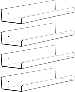 CY craft Clear Acrylic Floating Shelves Display Ledge, 5 MM Thick Wall Mounted Storage Shelf for Kitchen/Bathroom/Office,I...