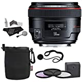 Canon EF 50mm f/1.2 L USM Lens + 72mm 3 Piece Filter Set (UV, CPL, FLD) + Lens Pouch + Polaroid Cleaning Kit + Polaroid Lens Cap & Strap