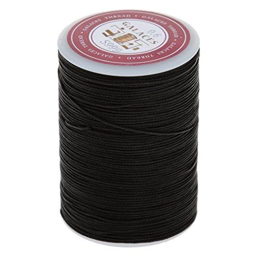 85/113 Meters - Hilo redondo encerado para manualidades (0,55 mm, 0,6 mm, 0,6 mm), color negro