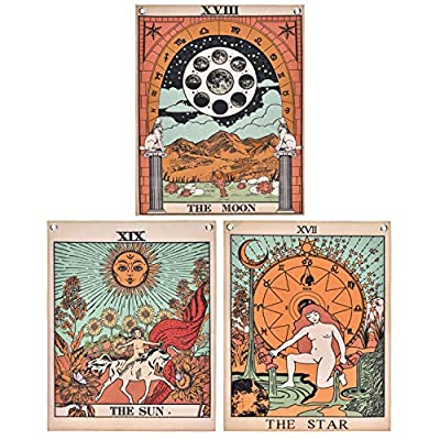 Pack 3 Tarot Tapestry, The Moon, The Star and The Sun Tarot Card Tapetsry, Medieval Europe Tapestry for Room with Rustproof Grommets, Seamless Nails