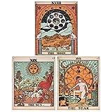 Krelymics 3er Pack Tarot Wandteppich Der Mond Der Stern und