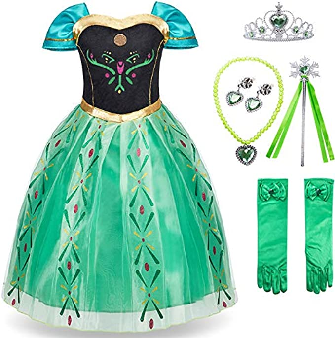 FUNNA Princess Costume for Toddler Girls Fancy Dress Green with Accessories