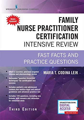Family Nurse Practitioner Certification Intensive Review, Third Edition: Fast Facts and Practice Questions - Book and Free App  Highly Rated FNP Exam Review Book
