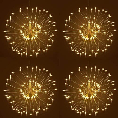 Luci Starburst 4 pezzi, 120 Led con 8 modalità di illuminazione Luci in rame appeso stellato Luci a dente di leone Batteria scintillio Luci Fuochi d'artificio per decorazioni natalizie